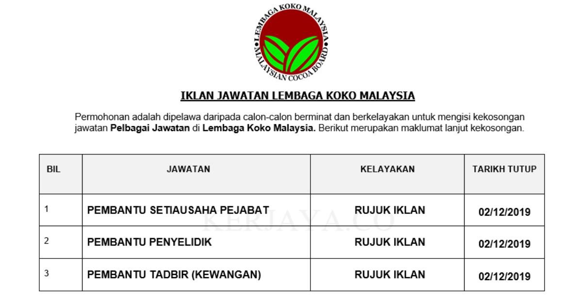 Permohonan Jawatan Kosong Lembaga Koko Malaysia Portal Kerja Kosong Graduan