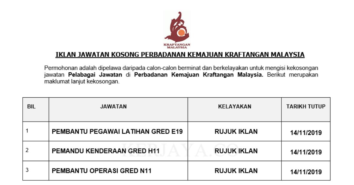 Permohonan Jawatan Kosong Perbadanan Kemajuan Kraftangan Malaysia Jawatan Kosong Terkini 2019 Portal Kerja Kosong Graduan