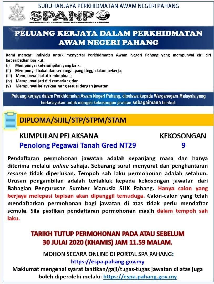 Jawatan Kosong Suruhanjaya Perkhidmatan Awam Negeri Pahang Portal Kerja Kosong Graduan