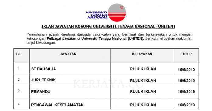 Permohonan Jawatan Kosong Terkini Universiti Tenaga Nasional (UNITEN)