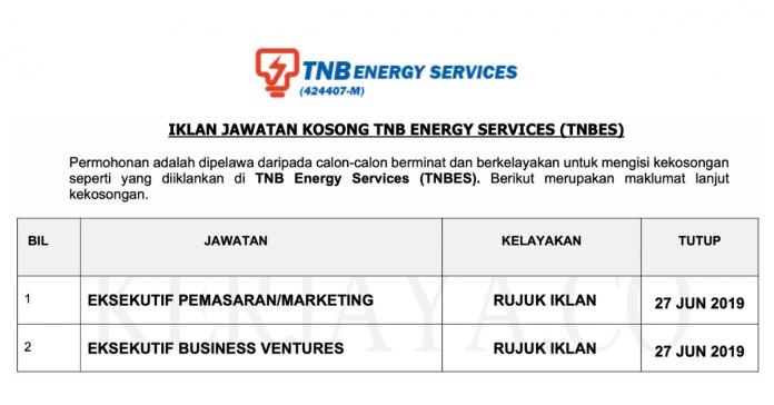 Permohonan Jawatan Kosong Terkini TNB Energy Services