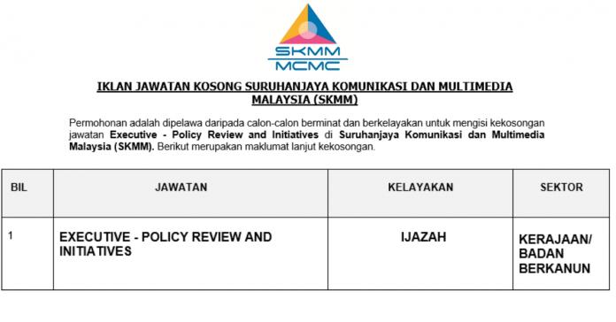 Permohonan Jawatan Kosong Terkini Suruhanjaya Komunikasi Dan Multimedia Malaysia (SKMM)