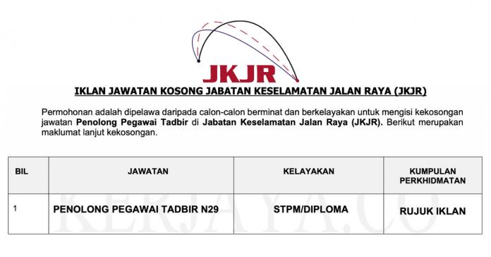 Permohonan Jawatan Kosong Terkini Jabatan Keselamatan Jalan Raya (JKJR)
