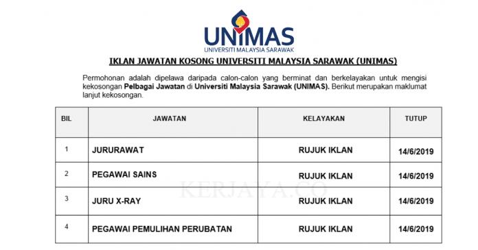 Permohonan Jawatan Kosong Terkini Universiti Malaysia Sarawak (UNIMAS)