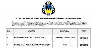 Permohonan Jawatan Kosong Terkini Yayasan Pembangunan Keluarga Terengganu (YPKT)
