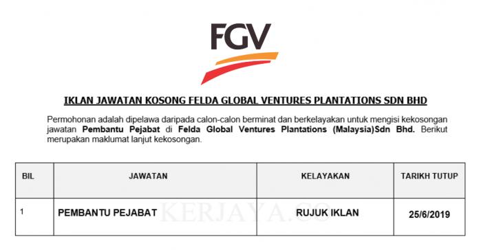 Permohonan Jawatan Kosong Terkini Felda Global Ventures Plantations (Malaysia) Sdn Bhd