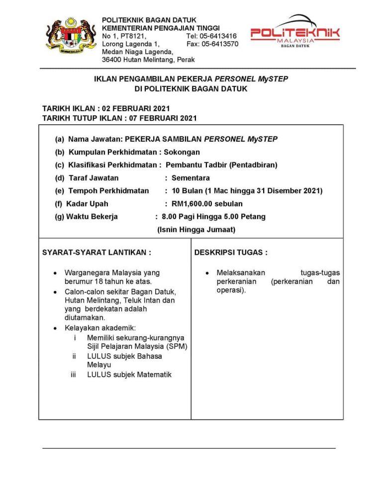 Iklan Jawatan Politeknik Bagan Datuk • Portal Kerja Kosong ...