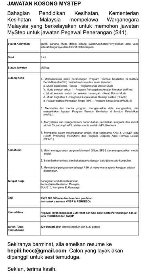 IKlan Jawatan Kementerian Kesihatan Malaysia (KKM ...